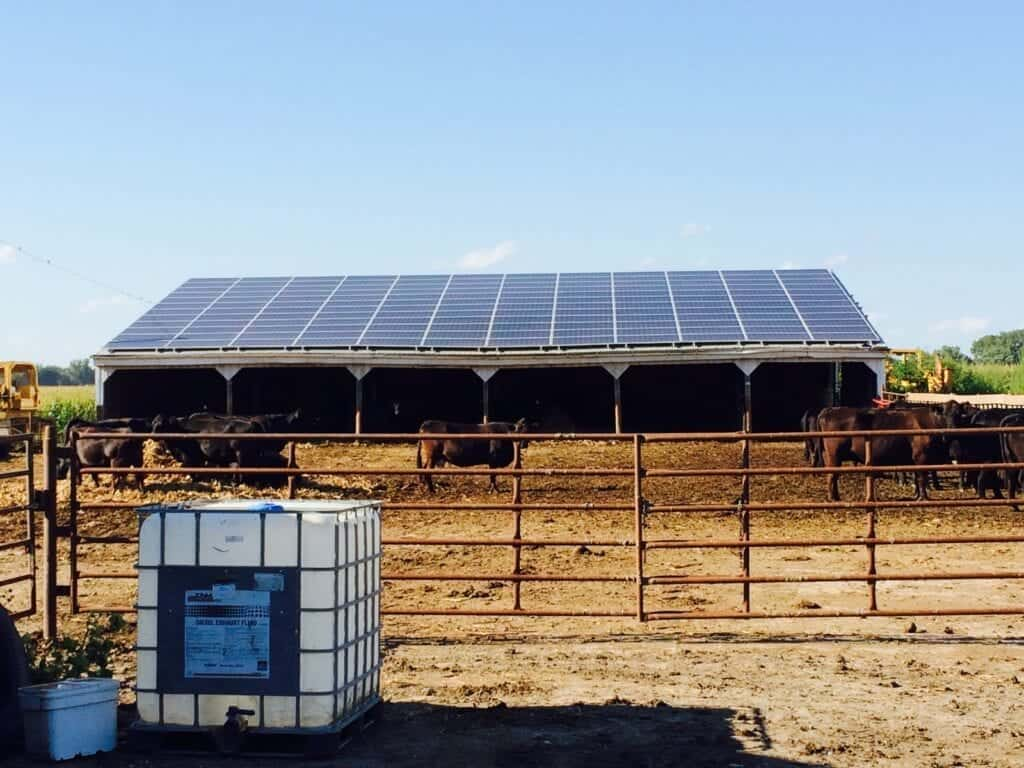 barn with photovoltaic roofing