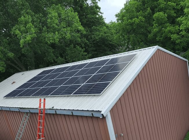 solar panels on barn roof on Midwest rural farm