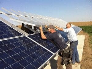 solar suppliers on the ground mount, installing the array