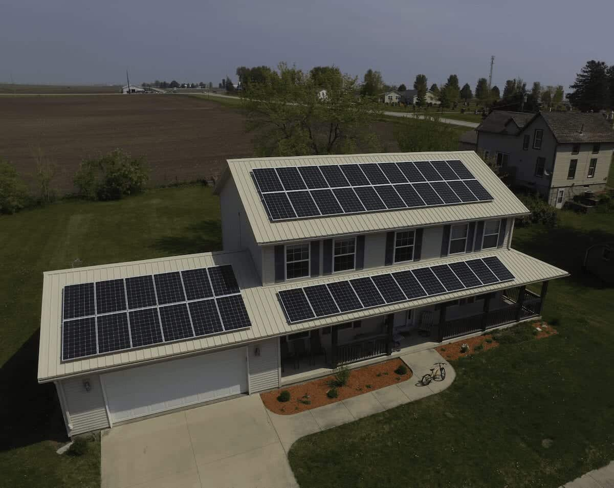 solar panels on new home with metal roof