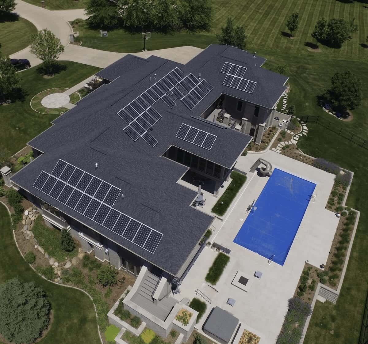 huge home with solar panels and pool