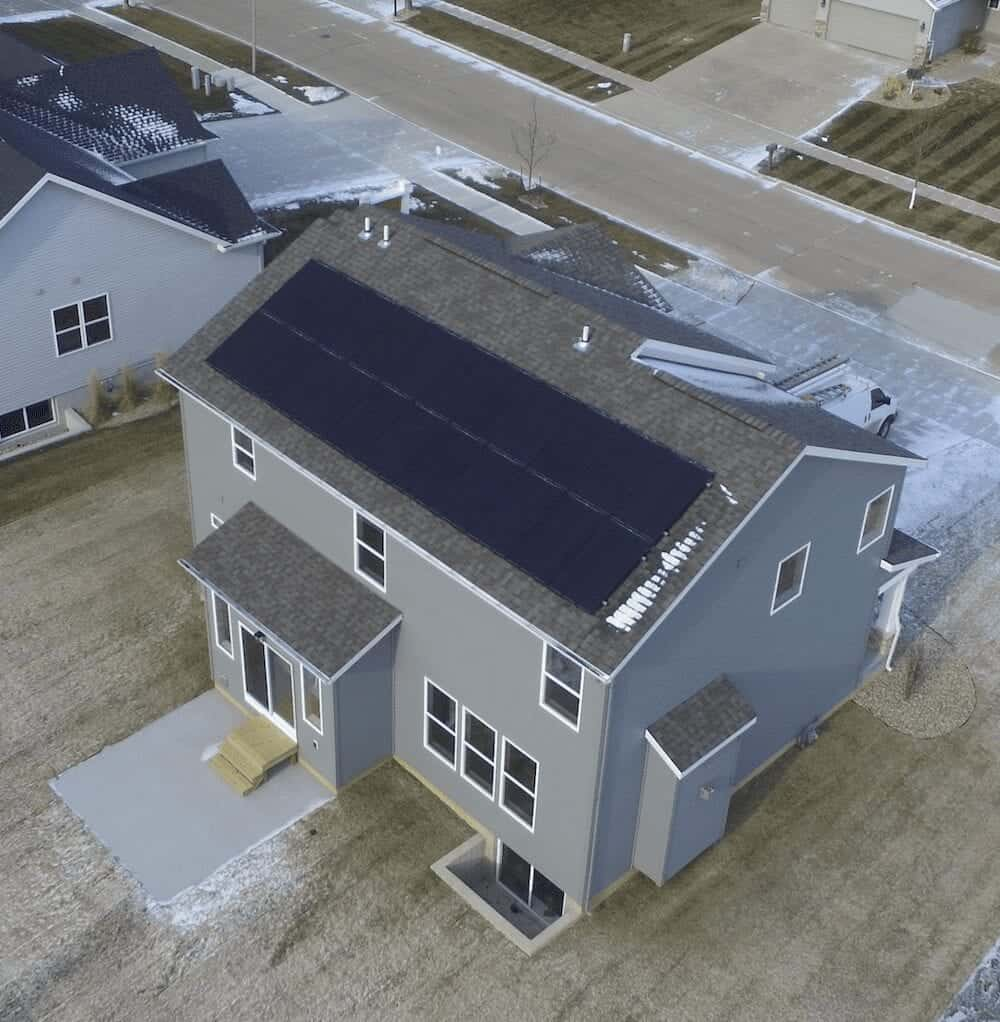 drone shot solar panels on roof