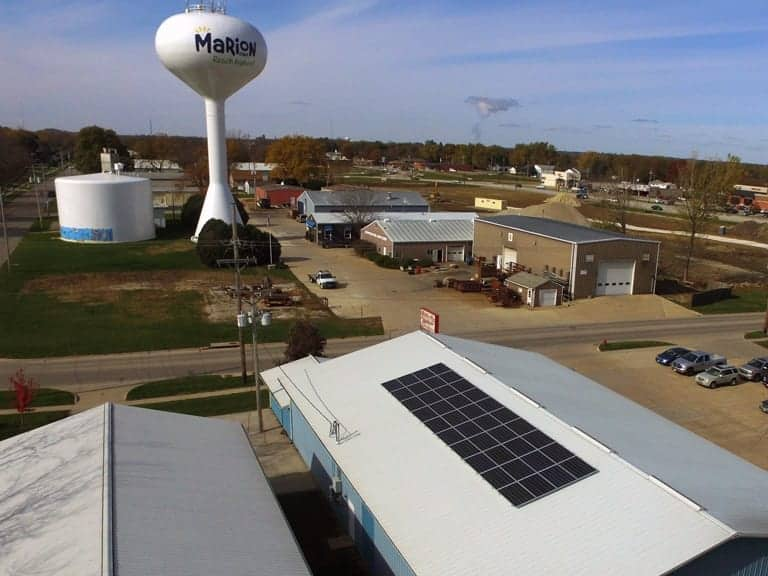 solar panel installed on commercial building roof in marion iowa